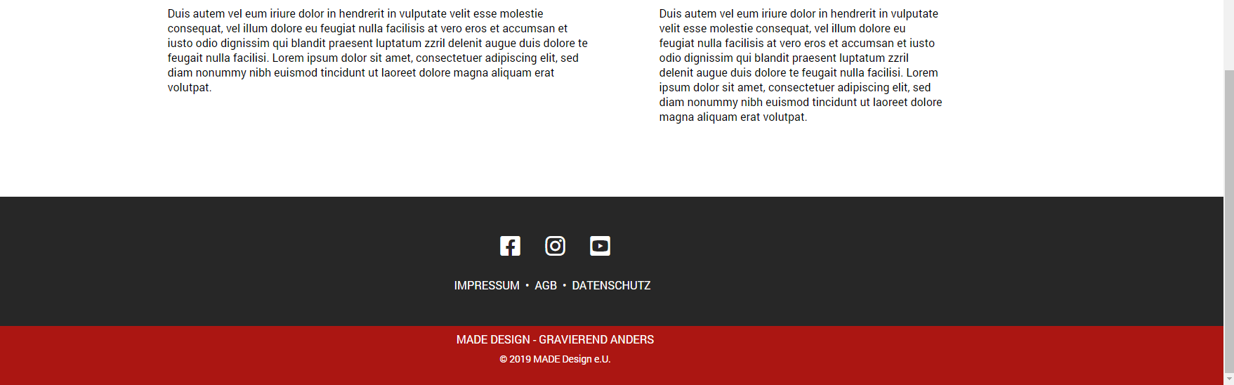 Footer (socials, footer-links, slogan, credits)